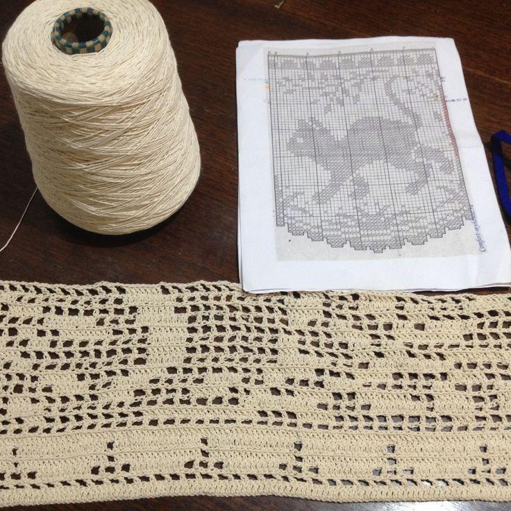 #Cortina #crochet #gatos para #cocina en algodón. #Hobby Semana 2. Voy lento, pero seguro...