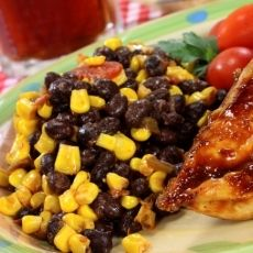 Grilled Corn and Black Bean Salad, a recipe from ATCO Blue Flame Kitchen's Let the Flame Begin 2002 cookbook.