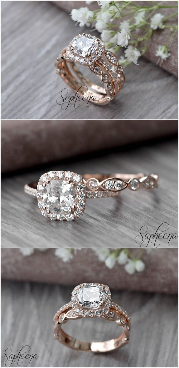 Set of 2, Brilliant Cushion Cut Engagement Ring with Art Deco band in 14k Rose Gold, Stacking, Bridal Set, Wedding Ring Band Set by Sapheena #ringsideas #cushioncutring #weddingbands