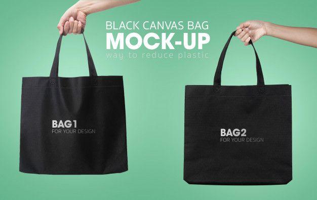 Download Black Tote Shopping Bags Mockup Black Tote Bag Mockup Bags