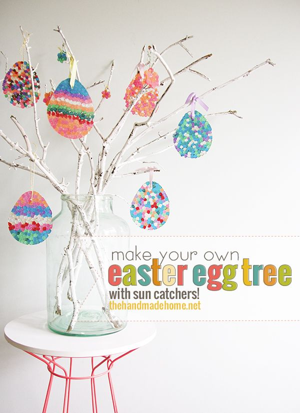 how to make an easter egg tree {diy sun catchers} - the handmade home