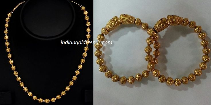 Latest Indian Gold and Diamond Jewellery Designs: Antique Gold Balls mala and Kadas