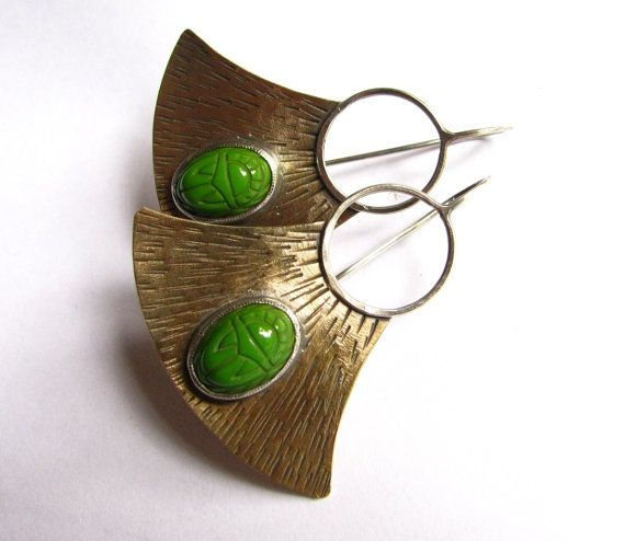 Egyptian Inspired Green Scarab Earrings - Large Bronze, Sterling Silver Mixed Metal Earrings -  Artisan Metalsmith Jewelry