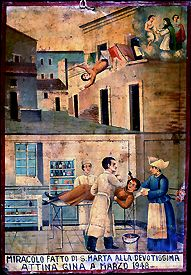 Gina Attina falls from a second story window and injures her head. A doctor, his assistant, and a nurse attend to her wounds at the local hospital. A miracle is performed by Saint Martha for the most devoted Gina Attina in March 1948. Oil on tin, 1948. Courtesy Giuseppe Maimone Editore, Catania and Mario Alberghina.