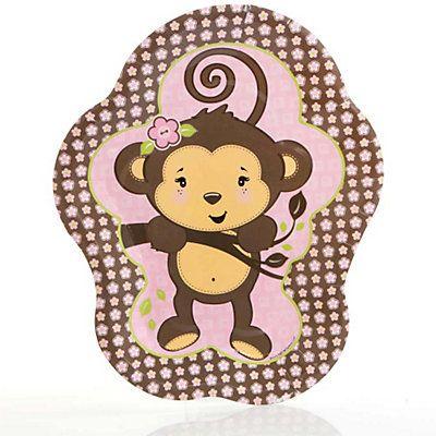 Monkey Girl   Baby Shower Dinner Plates   8 Pack