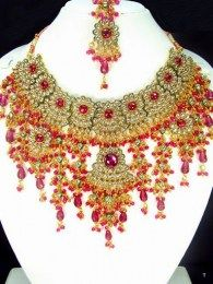 CZ, Pink  Color Stones And Pearls Traditional Kundan Necklace Set