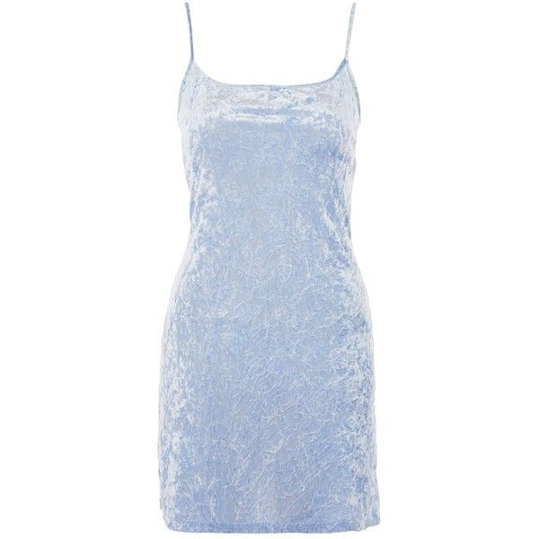 Crushed Velvet Mini Slip Dress by Nobody's Child ($32) ❤ liked on Polyvore featuring dresses, topshop, vestidos, blue, blue dress, slip dresses, mini slip dress, blue color dress and pastel dresses