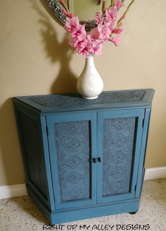Foyer Cabinet Entryway Small Hall Table With Storage Painted Console Chalk Paint Aubussonblue Unique Raised Wallpaper Idea Tin Look