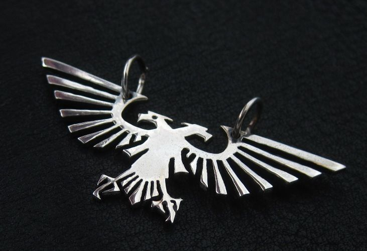 Silver Imperial Eagle pendant. Warhammer 40000. W40K. Aquila. Emperor. Mankind. #Pendant
