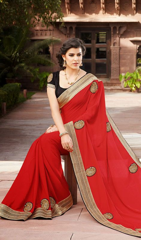 Red Embroidered Chiffon Saree with Lace Work Price: Usa Dollar $98, British UK Pound £58, Euro73, Canada CA$106 , Indian Rs5292.