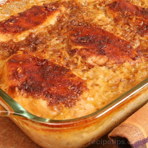 Chicken and Rice Casserole Recipe Main Dishes with white rice, cream of celery soup, cream of chicken soup, cream of mushroom soup, chicken broth, boneless skinless chicken breasts, onion soup mix