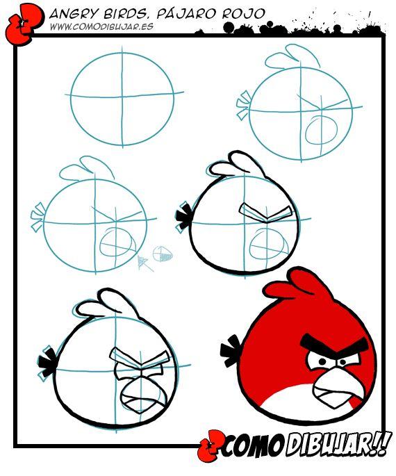 Como dibujar al pájaro rojo de los Angry Birds: http://www.comodibujar.es/tutoriales-dibujo/como-dibujar-angry-birds-pajaro-rojo/