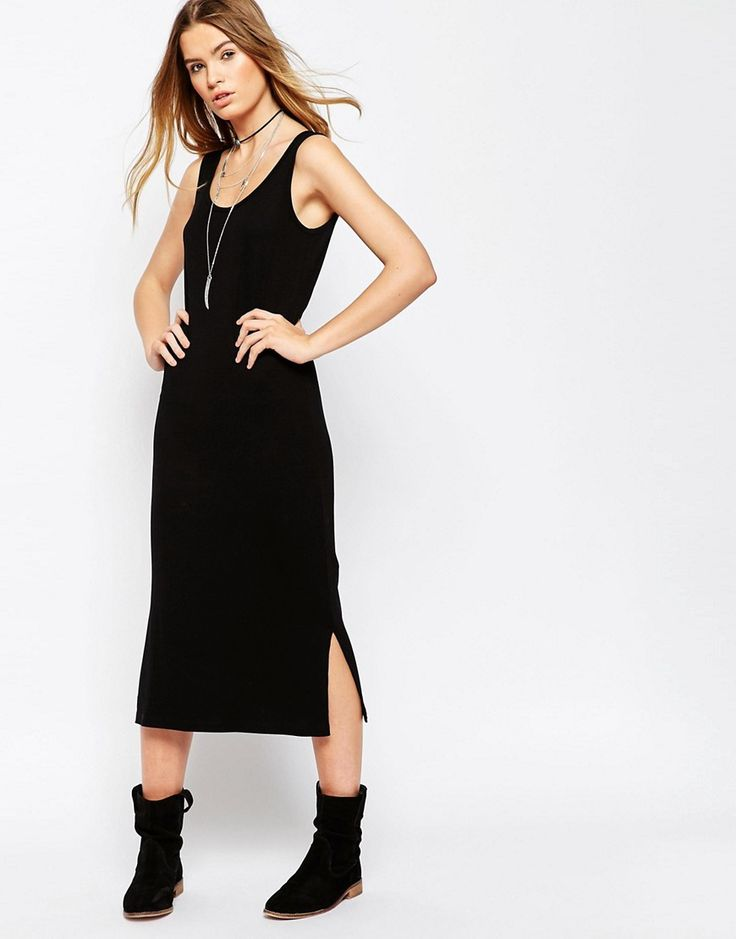 Image 1 of ASOS Midi Tank Dress In Rib