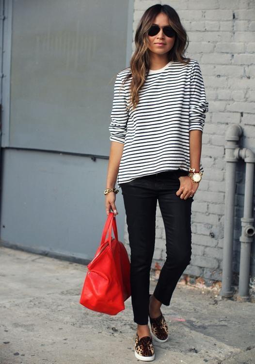 black + white stripes / black denim / red bag / leopard flats or sneakers