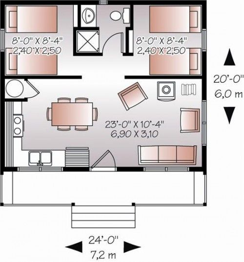 24 best images about floor plans 24 x 24 floor plans on for One room cabin floor plans