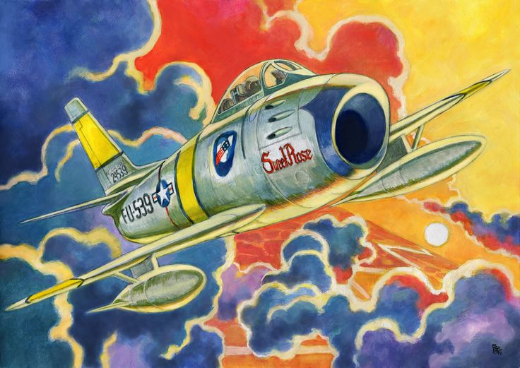 "F86-F Sabre FU-539 ""Sweet Rose"" Artwork- Crew Chief Wally Yocum 336th Fabulous Rocketeer #planes #f86"