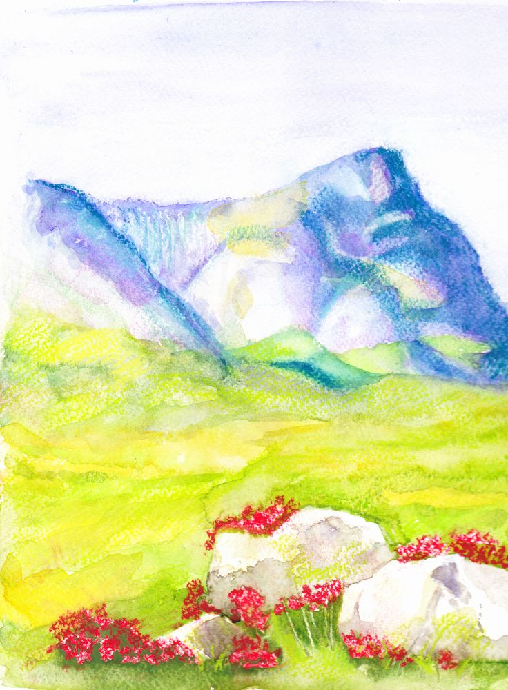 Another quick study - Highland landscape with heather, watercolour, watercolour pencil and pastel