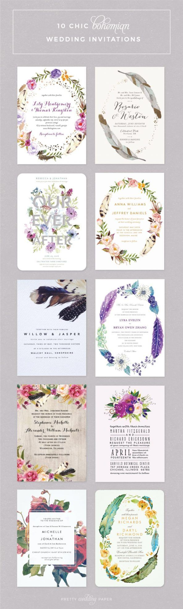 10 Rustic Bohemian / Boho Wedding Invitations. Some designs feature a floral wreath, some have feathers, and some pretty flowers. These invites are perfect for shabby chic and modern boho inspired weddings.