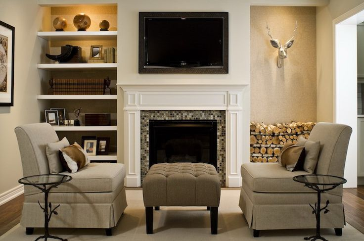 Tv over fireplace floating shelves on either side but for Next living room ideas