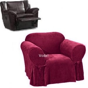 Reclining CHAIR Slipcover Adapted For Recliner Armchair Suede Burgundy