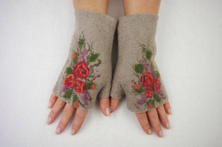 Felted Fingerless Gloves Fingerless Mittens Arm warmers Wristlets Merino Wool by LBFelt on Etsy https://www.etsy.com/listing/271342853/felted-fingerless-gloves-fingerless