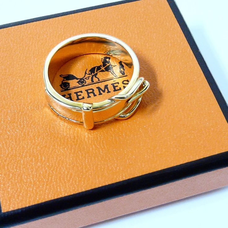 Authentic Hermes Belt Motif Gold Scarf Ring w/Box