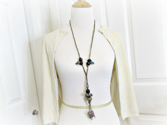 Vintage Long Beaded Statement Necklace, Leather Cord Necklace, Blue Brown Ceramic Trade Bead Necklace, 1970s Hippie African Tribal Jewelry by RedGarnetVintage