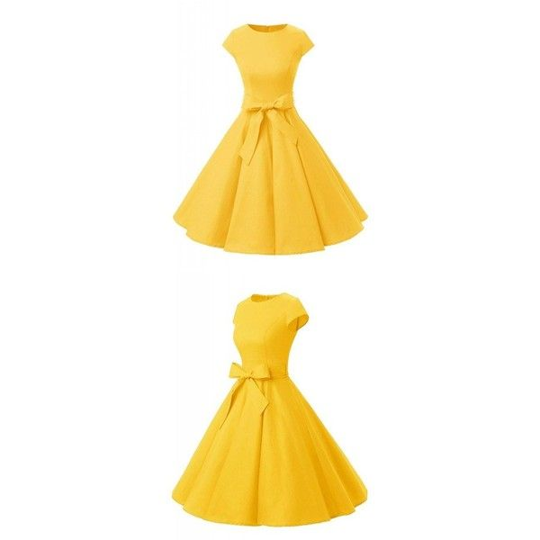 Yellow 50s Vintage Style Solid Cap Sleeves Party Cocktail Dress ❤ liked on Polyvore featuring dresses, cap sleeve short dress, cap sleeve party dress, vintage looking dresses, vintage style party dresses and going out dresses