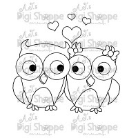 $3.00 Love Owls Digital Stamp from A.J.'s Digi Shoppe™
