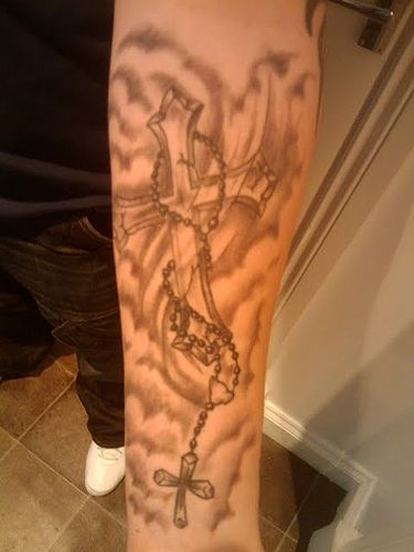clouds and rosary cross tattoo tattoos pinterest lower arm tattoos cross tattoos and for. Black Bedroom Furniture Sets. Home Design Ideas