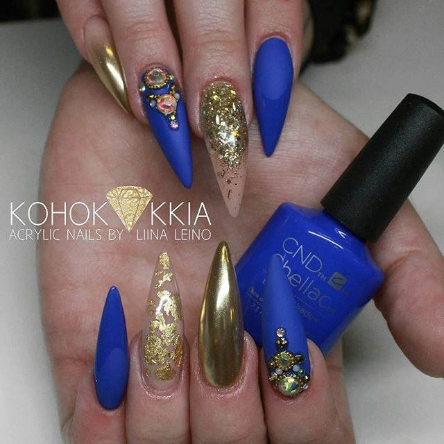 Cobalt Blue and Gold Stiletto Nails