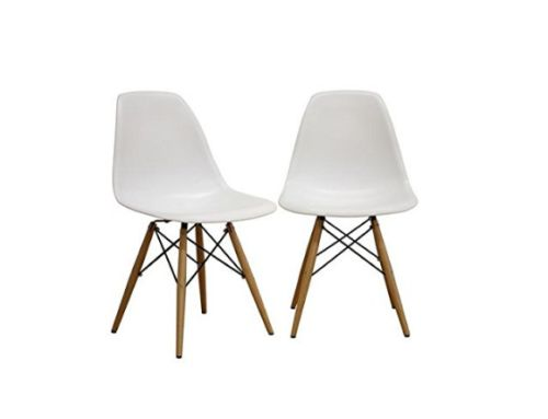 2-Set, White Eames Style Molded Plastic Side Chair