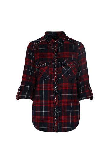 Red & Blue Check Studded Shirt #newin #Shirt #checked #TALLYWEIJL