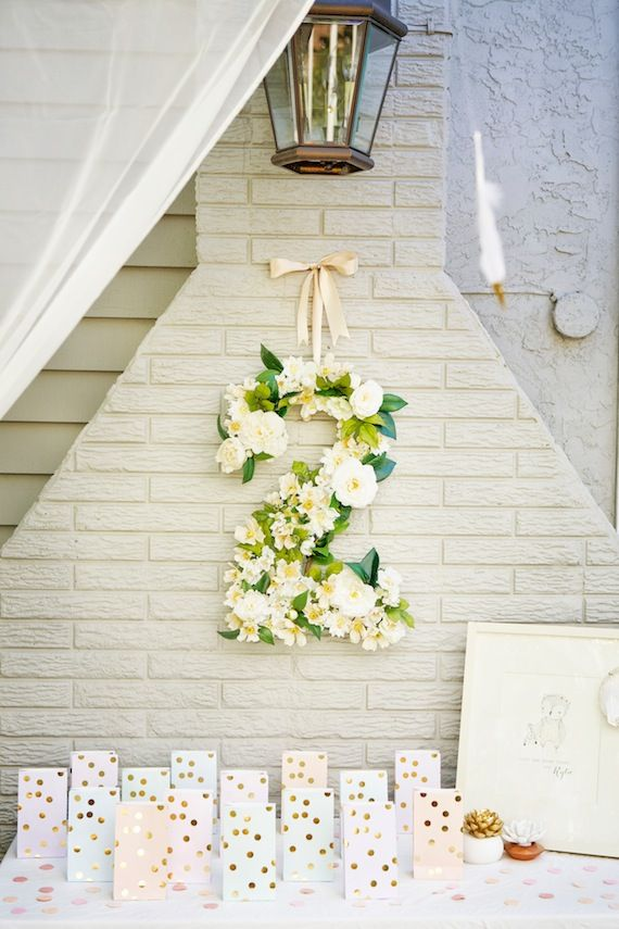 """A darling 2nd birthday with fabulous floral """"2"""" hanging decor. #StylishKidsParties"""