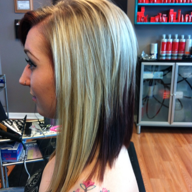 Added extensions to the sides to create an awesome angled bob.