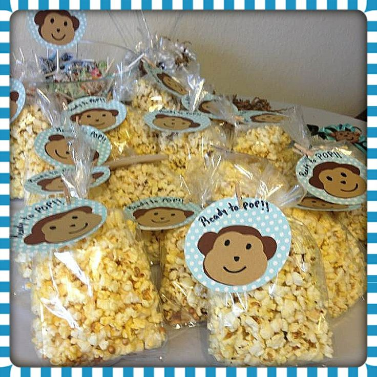 Ready to pop economic easy and cheap popcorn favors for a baby shower monkey baby boy - Monkey baby shower favors ideas ...