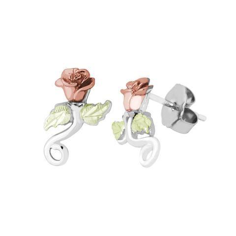 c2f991675 Landstrom's Black Hills Gold on Sterling Silver Rose Earrings - Posts - 10K  Rose - 12K Green Gold Leaf - Handmade - MRLER3744