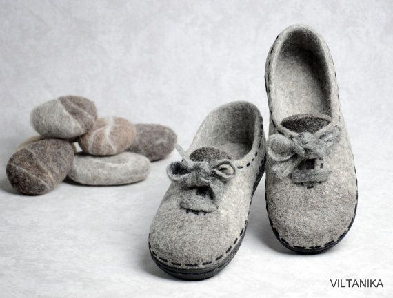 Ready to ship Felted house-shoes100%woolhandmade by VILTANIKA