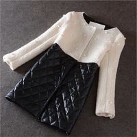 Viscose Fiber Coat Female Autumn Thicken Warm Woolen Blends Pearls Decoration Plaid Women Winter Blends A2524