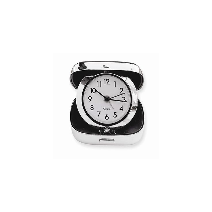 Stainless Steel Square Travel Alarm Clock - Engravable Personalized Gift Item