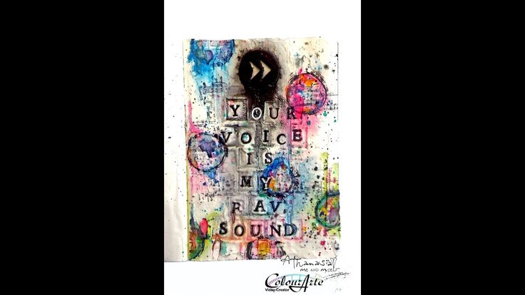 Your Voice is my fav Sound - art journal page  painting with H2Os waterc...