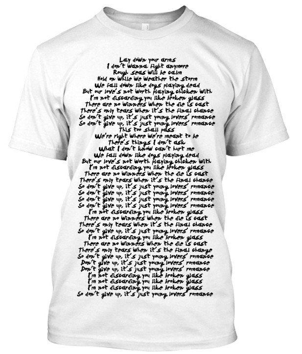 Sia Broken Glass Song lyric tshirt