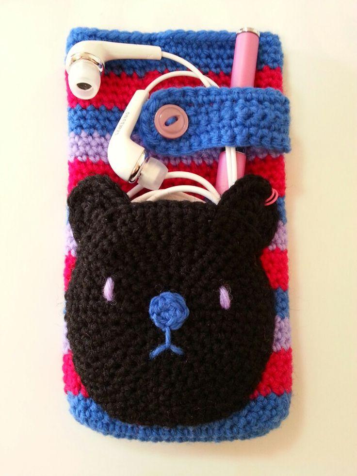 イヤホンポケット付きスマホポーチの作り方|編み物|編み物・手芸・ソーイング|ハンドメイドカテゴリ|アトリエ