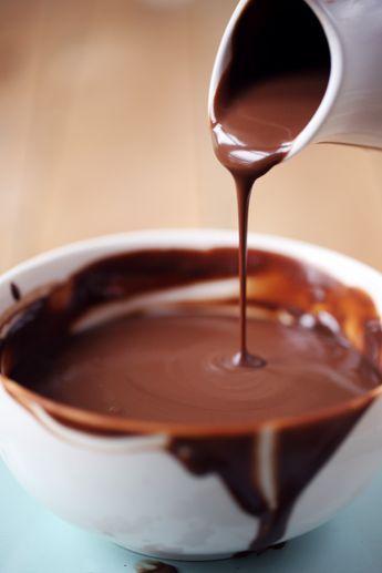 Sauce chocolat ★ 120g chocolat noir + 23 cL eau + 8 cL crème liquide entière + 4 cL lait entier + 50g sucre