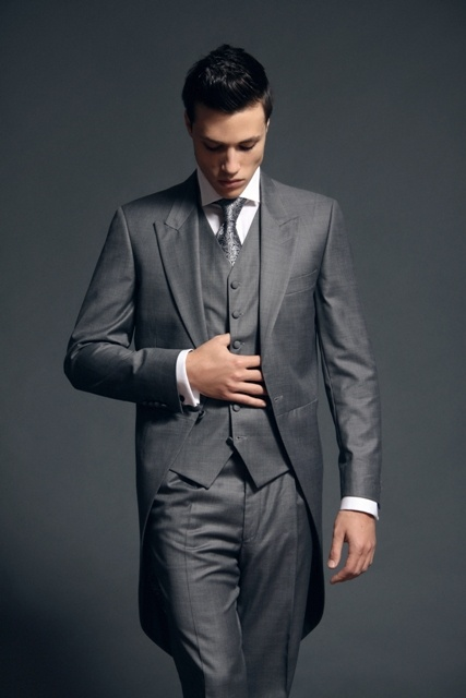 Minus the tie, would be replaced with cravat: a formal grey tux