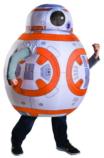 This is the droid your child is looking for this Halloween! Inflatable costume includes the BB-8 printed inflating jumpsuit and an inflating fan. A pair of black or khaki brown pants would definitely help the illusion of BB-8 rolling over the terrain. A pair of black or khaki brown pants would definitely help the illusion of BB-8 rolling over the terrain. #yyc #Calgary #costume #droids #StarWars #TheForceAwakens