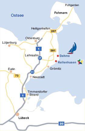 Karte der Lübecker Bucht mit Dahme und Kellenhusen