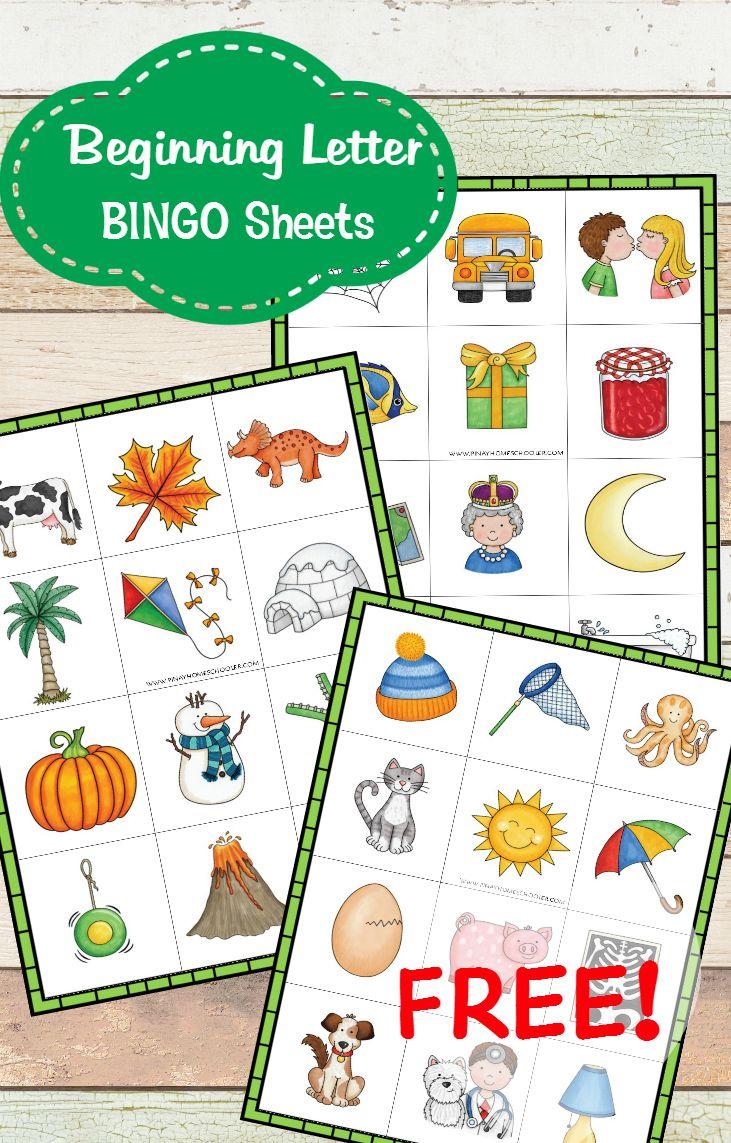 FREE Beginning letter BINGO Sheets