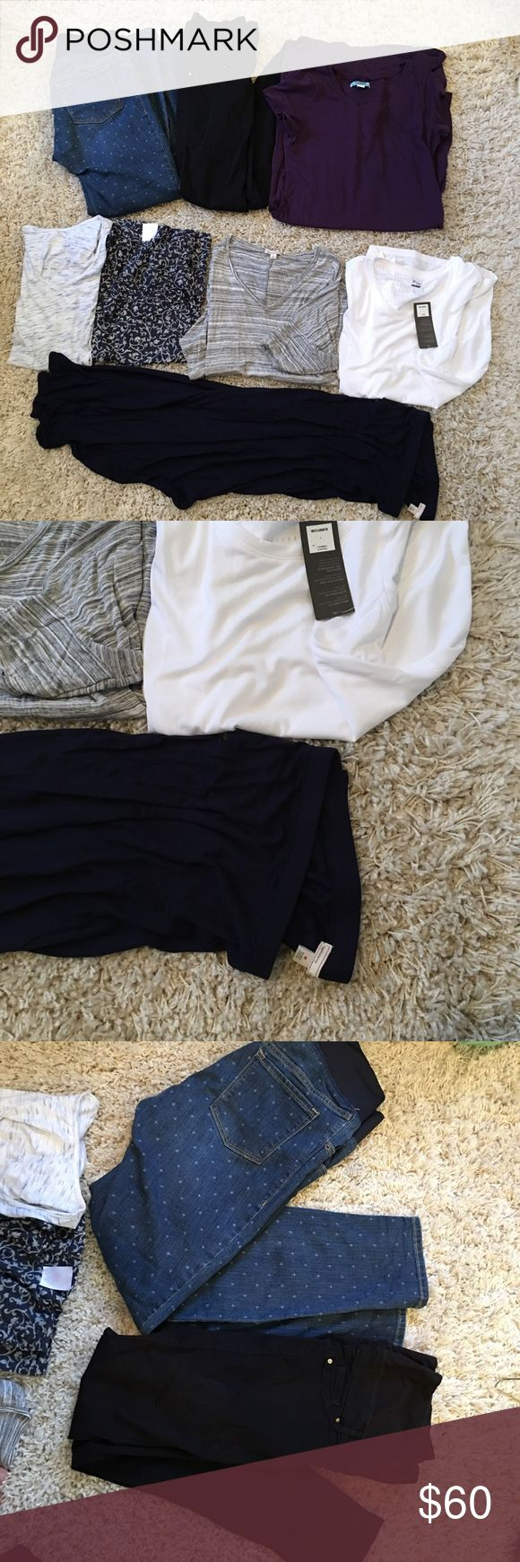 Medium size Maternity lot! H&M, Old Navy, Gap. Awesome maternity clothes! All worn once or twice. Black h&m skinny jeggings, size 10, fits like 8. Old navy jeans, size 8. Purple old navy dress size medium. Old navy and gap grey shirts. Blue short sleeve shirt. Brand new old navy athletic shirt size large. Navy high low knit skirt. H&M Other