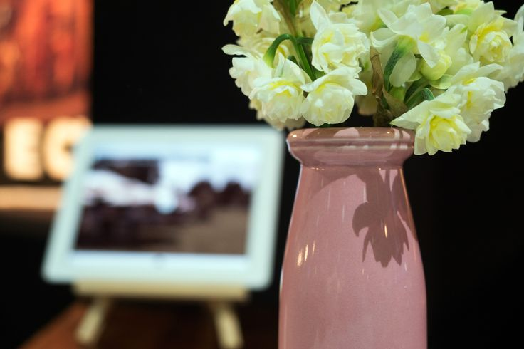 Another vase of flowers we had in the booth. In the background you can see the iPad we had playing footage, on a little wooden easel. Mixture of natural look and technology was a common theme through the booth.